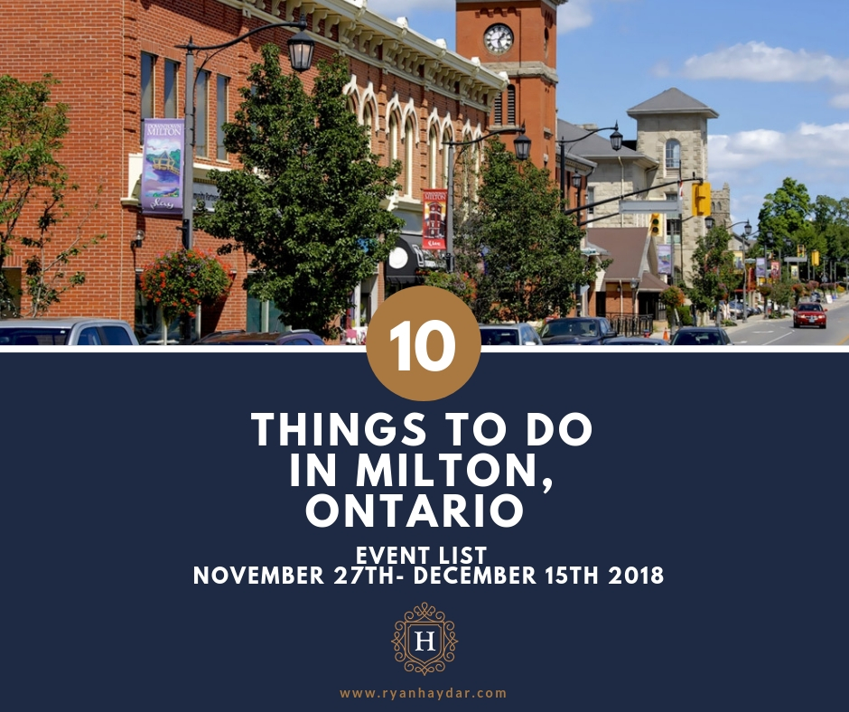 Local Events in Milton On - November 27th- December 15th 2018